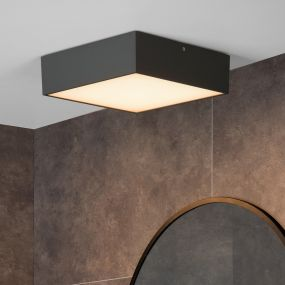 Lucide Roxane - plafondverlichting - 24 x 24 x 7,1 cm - 10W LED incl. - IP54 - antraciet