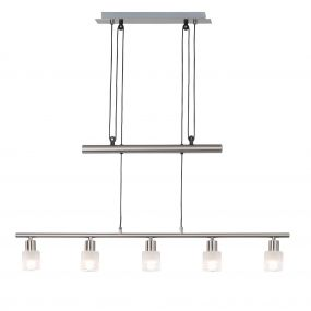 Brilliant Lea - hanglamp - 90 x 160 cm - 5 x 3W LED incl. - satijn chroom