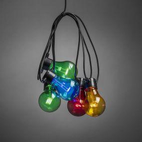 Konstsmide - decoratieve party lichtset - 4,5m lengte met 10m snoer - 10 LED lampen - IP44 - multikleur