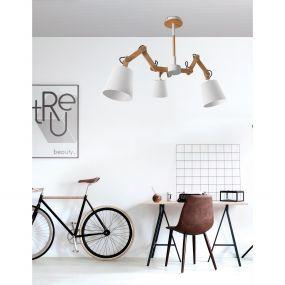 Nova Luce Legno - hanglamp - 58 x 100 cm - wit en bruin