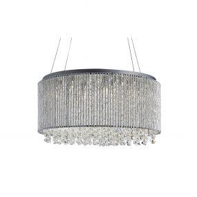 Searchlight Beatty - hanglamp - Ø 41 x 142 cm - chroom en transparant