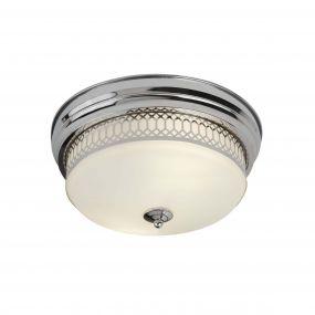 Searchlight Edinburgh - plafondlamp badkamer - Ø 35 x 16 cm - IP44 - chroom