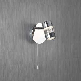 Searchlight Bubbles - wandverlichting met trekschakelaar - 11 x 11,1 cm - 4,5W dimbare LED incl. - IP44 - chroom
