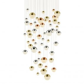 Searchlight Planets - hanglamp - Ø 140 x 323 cm - 55 x 7W dimbare LED incl. - multicolour