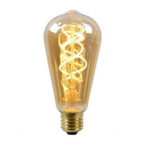 Lucide LED filament lamp - Ø 6,4 x 14,6 cm - E27 - 5W dimbaar - 2200K - amber