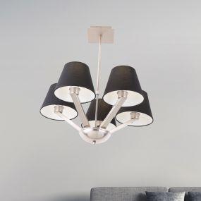 Maxlight Orlando - hanglamp - Ø 62 x 48 cm - zwart en geborsteld metaal