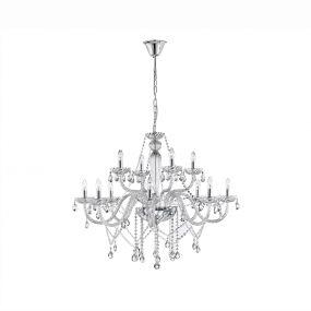 Nova Luce Mozart - luster - Ø 100 x 120 cm - chroom en transparant