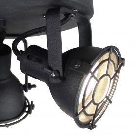 Brilliant Jesper - opbouwspot 3L - Ø 24 x 15 cm - 3 x 4W LED incl. - zwart korund