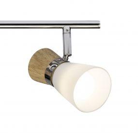 Brilliant Nacolla - opbouwspot 4L - 76 x 17 x 15 cm - hout / chroom / wit