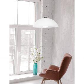 Nova Luce Prego - hanglamp - Ø 40 x 100 cm - wit en chroom