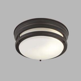 Searchlight Edinburgh - plafondlamp badkamer - Ø 35 x 14,5 cm - IP44 - bruin