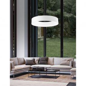 Nova Luce Rando - hanglamp - Ø 60 x 120 cm - 42W LED incl. - witte lichtkleur - mat wit