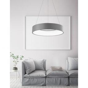 Nova Luce Rando - hanglamp - Ø 60 x 120 cm - 42W LED incl. - witte lichtkleur - grijs