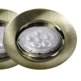 Energetic Lighting Matrix - set van 3 - Ø 85 mm, 65 mm inbouwmaat - 3 x 5,5W dimbare LED incl. - antiek messing