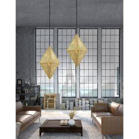 Nova Luce Ciryl - hanglamp - Ø 25 x 200 cm - goud