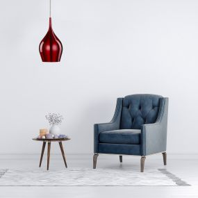 Searchlight Vibrant - hanglamp - Ø 12 x 142 cm - wijn rood