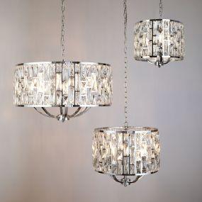 Searchlight Bijou - hanglamp - Ø 44 x 150 cm - chroom