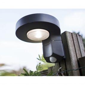 Lutec Diso - buiten wandlamp met sensor op zonne-energie - 17 x 16 x 12 cm - 2W LED incl. - IP44 - donkergrijs