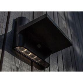 Lutec Twill - buiten wandlamp met sensor op zonne-energie - 18 x 13 x 13 cm - 2,2W LED incl. - IP54 - donkergrijs