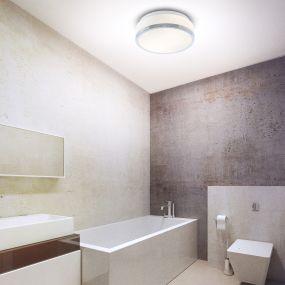 Searchlight Discs - plafondlamp badkamer - Ø 29 x 9,5 cm - IP44 - opaal en chroom