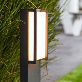 Lutec Qubo - tuinpaal - 11 x 9 x 75 cm - 18W LED incl. - IP54 - donkergrijs