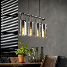 Vico Chromed Glass - hanglamp - 100 x 12 x 150 cm - oud zilver