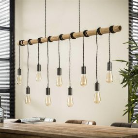 Vico Bamboo Wire - Hanglamp 9L - 140 x 6 x 150 cm - Bamboo
