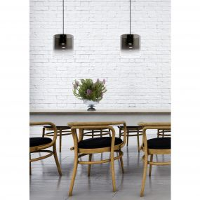 Lucide Owino - hanglamp - 100 x 20 x 150 cm - 2 x 5W dimbare LED incl. - fumé