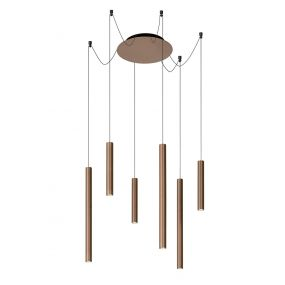 Lucide Lorenz - hanglamp - 120 x 120 x 130 cm - 6 x 4W dimbare LED incl. - roest bruin