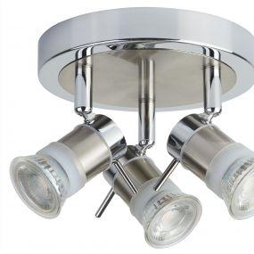 Searchlight Aries – plafondverlichting - Ø 18 x 13 cm - 3 x 5W LED incl. - IP44 - chroom