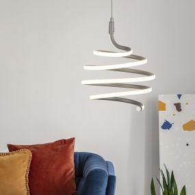 Searchlight Swirl - hanglamp - Ø 21 x 130 cm - 28W dimbare LED incl. - grijs en wit