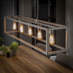 Vico Square Tube - hanglamp 5L - 125 x 25 x 150 cm - zilver