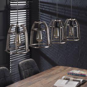 Vico Thick Basket  - hanglamp 4L - 120 x 21 x 150 cm - antiek nikkel