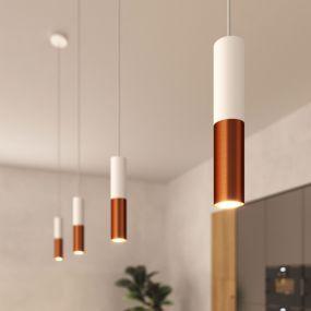 Creative Cables Double Tube - hanglamp 1L - Ø 12,5 x Ø 6 x 190 cm - geborsteld koper en wit