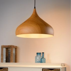 Lucide Woody II - hanglamp - Ø 42 x 130 cm - hout