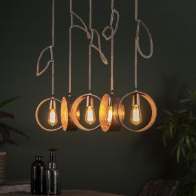 Vico Loop - hanglamp 5L - 120 x 21 x 150 cm - Antiek nikkel