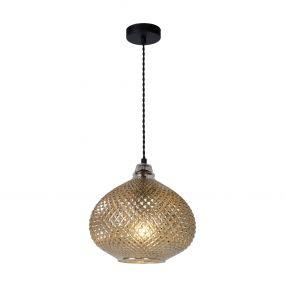 Lucide Gerben - hanglamp - Ø 29,5 x 160 cm - antiek zilver glas
