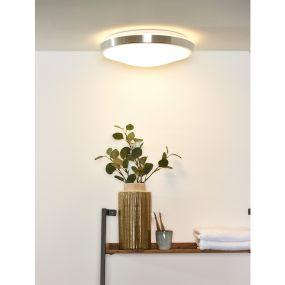 Lucide Casper I - plafondverlichting - Ø 41 x 10,5 cm - 24W LED incl. - IP44 - mat chroom
