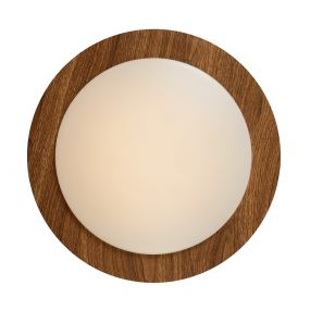Lucide Dimy - plafondverlichting - Ø 28 cm - 3-step-dim 12W LED incl.  - IP21 - hout en opaal