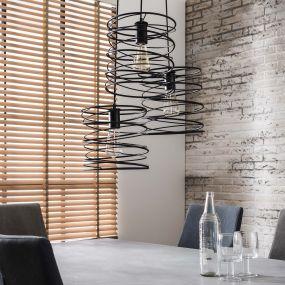 Vico Curl - hanglamp - Ø 40 x 150 cm - houtskool