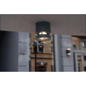 Lutec Focus - buiten plafondlamp - Ø 10 x 10 cm - IP44 - donkergrijs