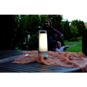 Lutec Dragonfly - draagbare zonnelamp met USB-poort - Ø 10 x 28 cm - 3 stappen dimmer - 1,2W LED incl. - IP54 - zilver grijs