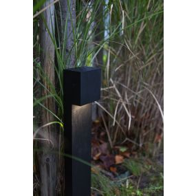 Lutec Gemini XF -  tuinpaal - 9,2 x 11 x 65 cm - 9W LED incl. - zwart - warm wit