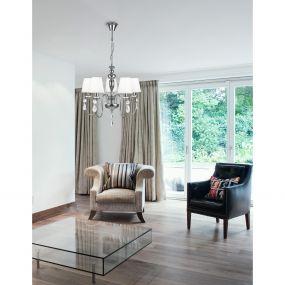 Nova Luce Adelyn - luster - Ø 55 x 120 cm - chroom en wit
