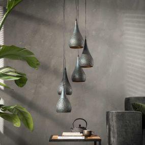 Vico Stepped Punch - hanglamp - Ø 35 x 150 cm - zwart bruin