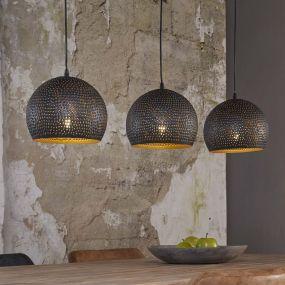 Vico Perforated - hanglamp 3L - 110 x 25 x 150 cm - zwart bruin