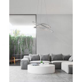 Nova Luce Livorno - hanglamp - Ø 60 x 120 cm - 55W LED incl. - chroom