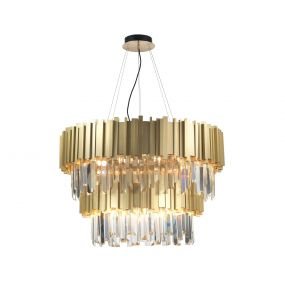 Nova Luce Baladona - luster - Ø 85 x 180 cm - gouden messing