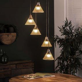 Vico Ribbel getrapt - Hanglamp 5L - 48 x 48 x 150 cm - Geribbeld glas