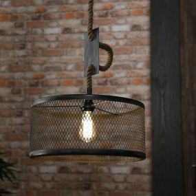 Vico Mesh Rope - hanglamp - Ø 40 x 150 cm - grijs